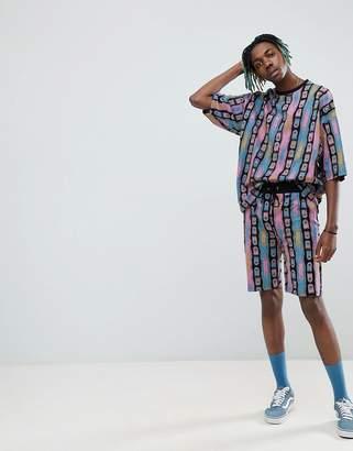 Asos DESIGN oversized t-shirt 80's geo-tribal print two-piece