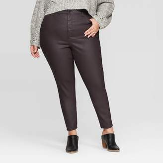 Universal Thread Women's Plus Size High-Rise Coated Skinny Jeans Burgundy