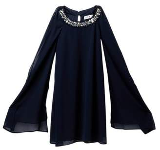 Beautees Jeweled Neck Dress with Sheer Sleeves (Big Girls)