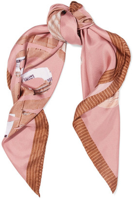 Moschino - Teddy Printed Silk-satin Scarf - Pink $225 thestylecure.com