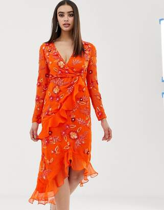 Virgos Lounge floral embellished wrap front ruffle asymmetric midi dress in orange