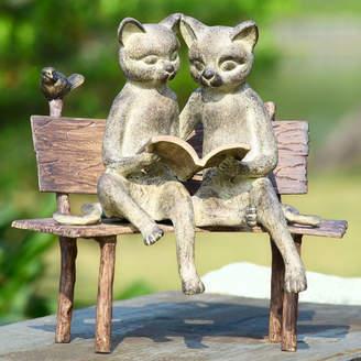 SPI Home Reading Cat on Bench Garden Statue
