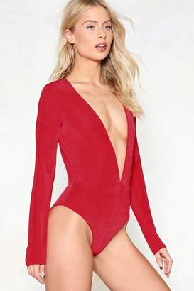 Nasty Gal Deep It Up Plunging Bodysuit