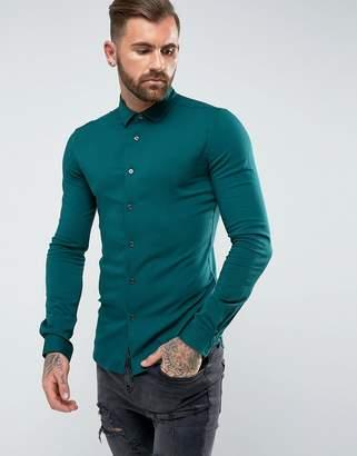 Asos DESIGN Skinny Viscose Shirt In Green