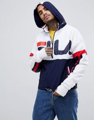 Fila Black Line Riker Overhead Track Jacket With Large Logo In White