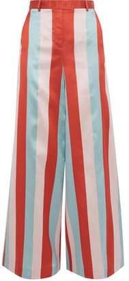 RED Valentino Striped Satin-twill Wide-leg Pants