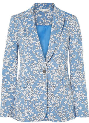 Alice + Olivia Alice Olivia - Macey Cotton-blend Jacquard Blazer - Blue