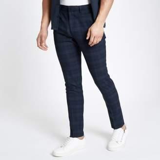 River Island Mens Blue check smart skinny pants
