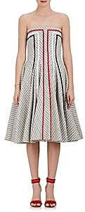 Thom Browne WOMEN'S COTTON-BLEND TWEED STRAPLESS FIT & FLARE DRESS-GRAY SIZE 1