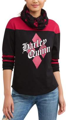 Junior's DC Comics Harley Quinn Logo Yoke Tee with Sleeve Stripes and Matching Scarf