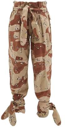RE/DONE X The Attico Camouflage Paperbag Waist Trousers - Womens - Beige Multi