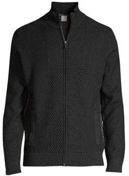 Bugatti Men's Full Zip Sweater - Navy - Size Large