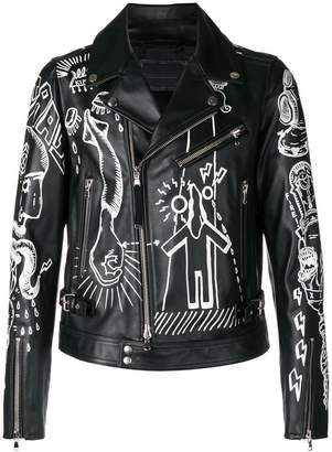 Diesel Black Gold printed design biker jacket