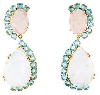 Bounkit Moonstone Labradorite & Glass Clip-On Earrings