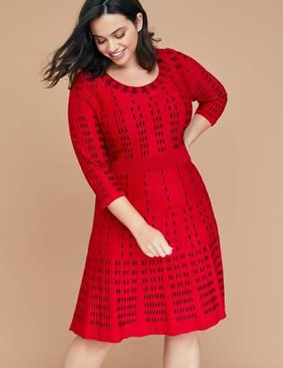 Lane Bryant Vertical Pattern Fit & Flare Sweater Dress
