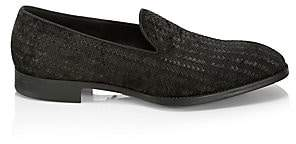 Giorgio Armani Men's Woven Texture Leather Loafers