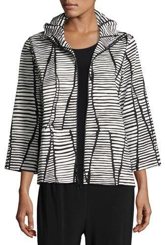 Caroline RoseCaroline Rose Lines & Vines Zip Jacket, Black/White, Plus Size