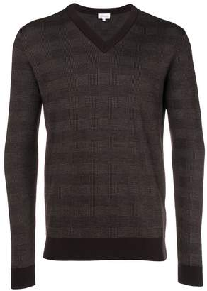 Brioni V-neck checked jumper