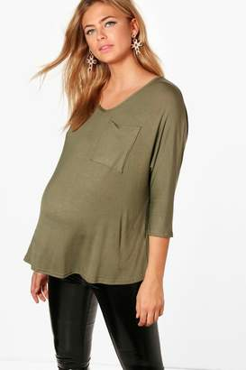 boohoo Maternity Hayley Oversized Pocket T-Shirt