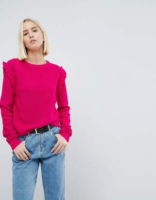 Brave Soul Sweater With Shoulder Frill