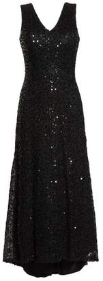 Morgan & Co. Sequin & Lace High/Low Gown