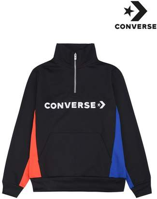 Converse Boys Boys Black Colourblock Track Quarter Zip Sweater - Black
