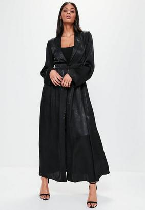 Black Crushed Satin Waist Detail Duster Coat $56 thestylecure.com