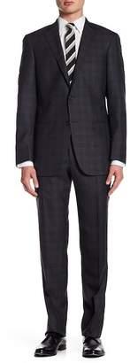 Hart Schaffner Marx Dark Grey Plaid Two Button Notch Lapel Wool Blend New York Fit Suit