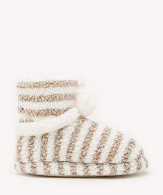 Sole Society Terrycloth Stripe Slippers w/Pom Poms