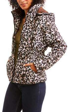 I5 Apparel Women's Animal Print Hooded Puffer Jacket