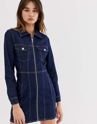 Weekday organic cotton zip detail denim dress deep blue