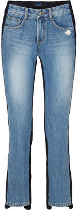 Sjyp Corduroy-paneled Mid-rise Straight-leg Jeans - Navy