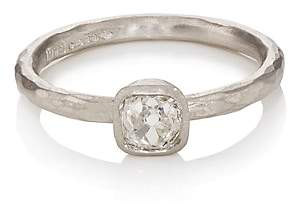 Malcolm Betts Women's Cushion-Shaped White Diamond Ring-Silver