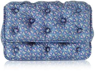 Benedetta Bruzziches Leopards Printed Blue Satin Silk Carmen Shoulder Strap