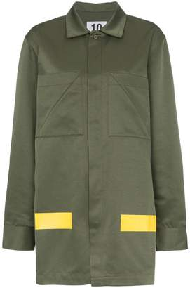 Ten Pieces patch pocket collared cotton blend army coat