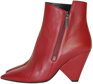 Saint Laurent Niki Red Leather Ankle boots