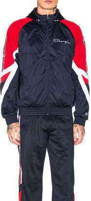 Champion Reverse Weave Champion Full Zip Hooded Jacket in Navy & Red & White   FWRD