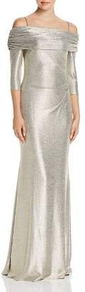 Avery G Off-the-Shoulder Metallic Knit Column Gown