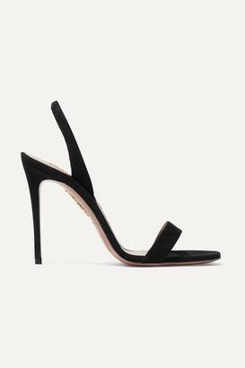 Aquazzura So Nude 105 Suede Slingback Sandals - Black