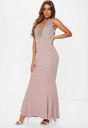 Missguided Mauve Plunge Lace Maxi Dress