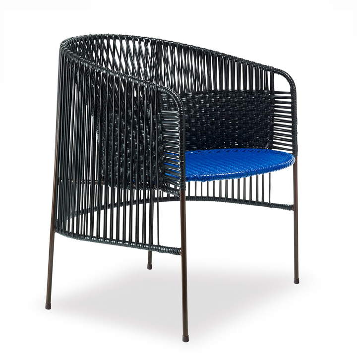 ames - caribe Lounge Chair, schwarz / blau / braun