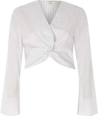 c03ca8dead43 River Island Womens Cream stripe print knot long sleeve crop top