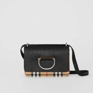 Burberry The Mini Vintage Check and Leather D-ring Bag, Black