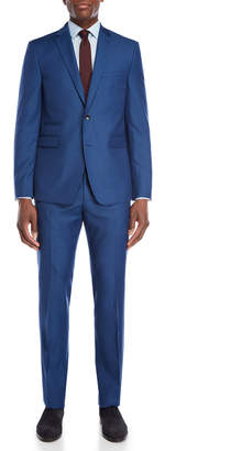 Vince Camuto Two-Piece Blue Slim Fit Houndstooth Suit