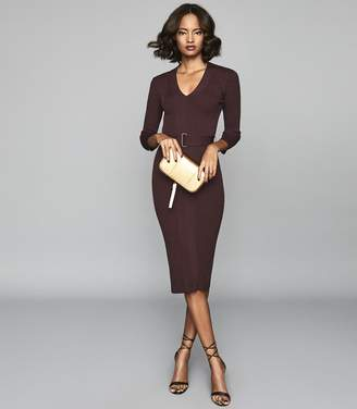 Reiss ALICIA BELTED KNITTED BODYCON DRESS Berry