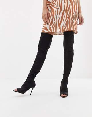 Kimberly Asos Design ASOS DESIGN peep toe thigh high boots