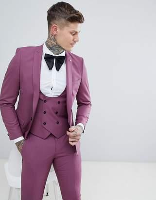 Noose & Monkey Wedding Super Skinny Suit Jacket In plum