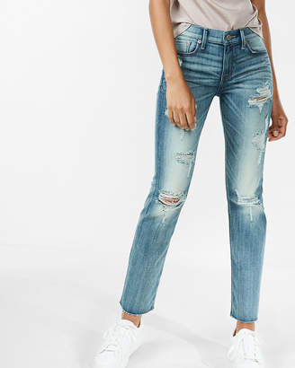 Express Mid Rise Distressed Stretch Straight Leg Jeans