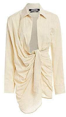 Jacquemus Women's La Robe Bahia Knotted Linen-Blend Dress