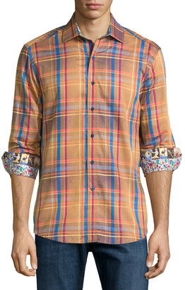 Robert Graham Deck the Halls Plaid Sport Shirt, Dark Orange $210 thestylecure.com